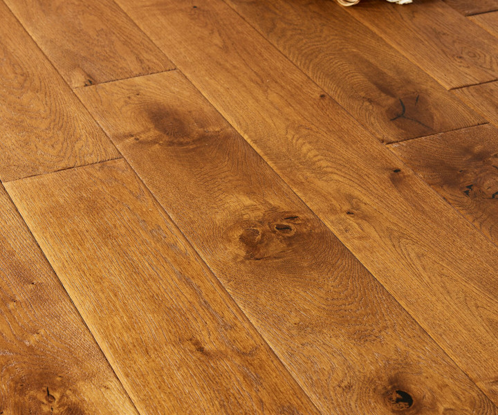 Brooks Floor - Blenheim Multi-Ply Oak Hanscraped  Stained Oiled Rustic Distressed Character Grade M2008