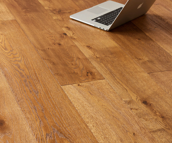 Brooks Floor - Blenheim Multi-Ply Oak  Deep Brushed Hand Scraped Cognac Stained Oiled, Character Grade M1007