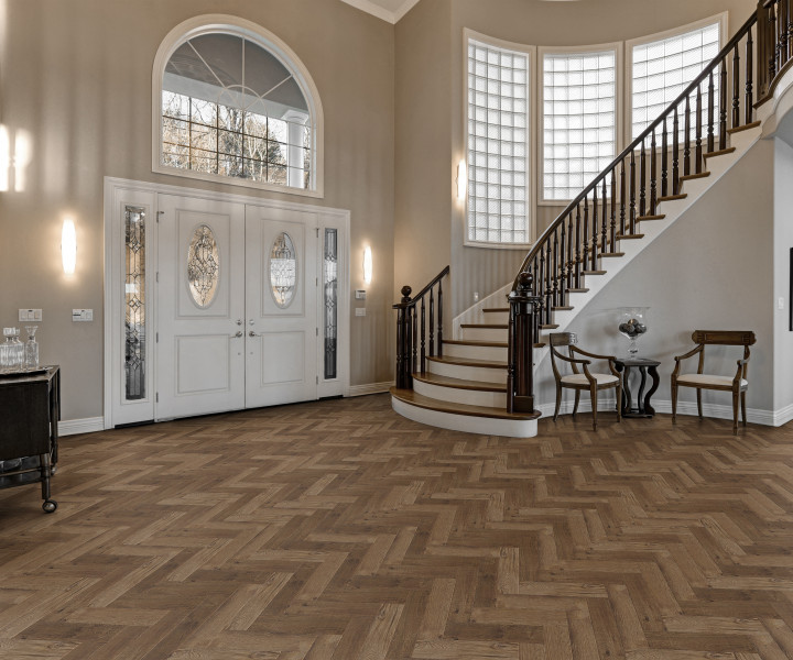 Luvanto Vinyl Herringbone tiles - Priory Oak