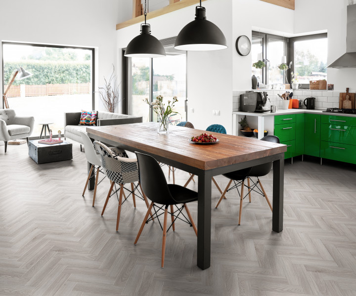 Luvanto Vinyl Herringbone tiles - Pearl Oak